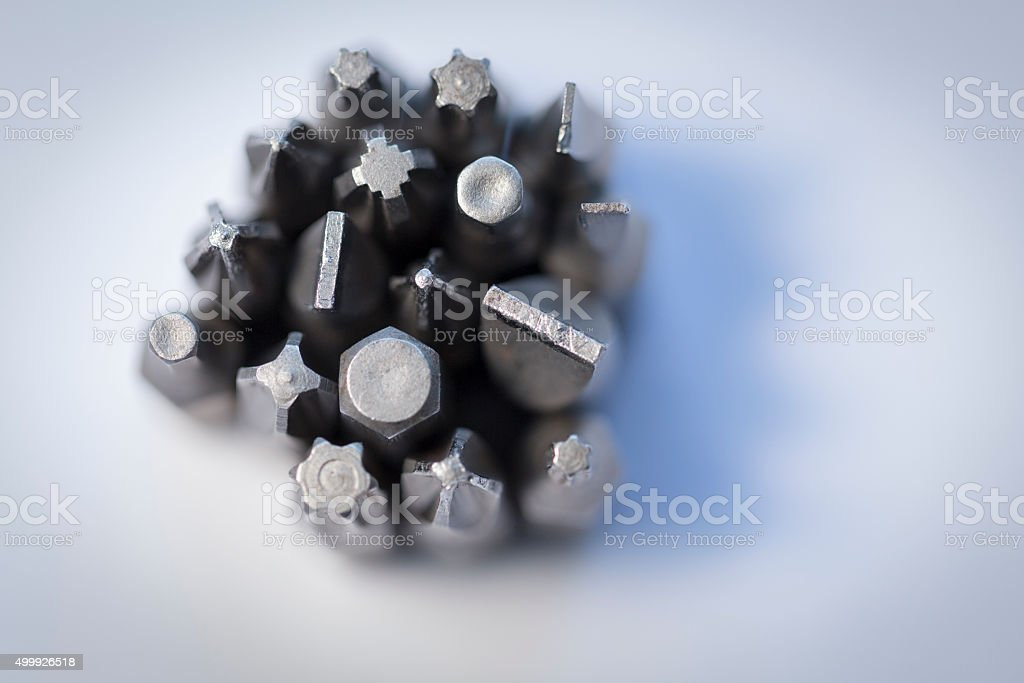 Tool bits(goes into the blur) stock photo