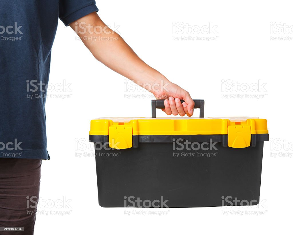 tool box in hand on white stock photo