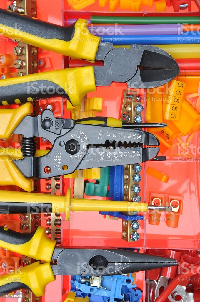 Tool box with electrical tools and components stock photo