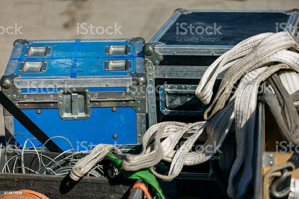 Tool boxes with repairing equipment stock photo