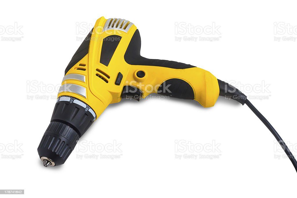 tool drill yellow isolated on white royalty-free stock photo