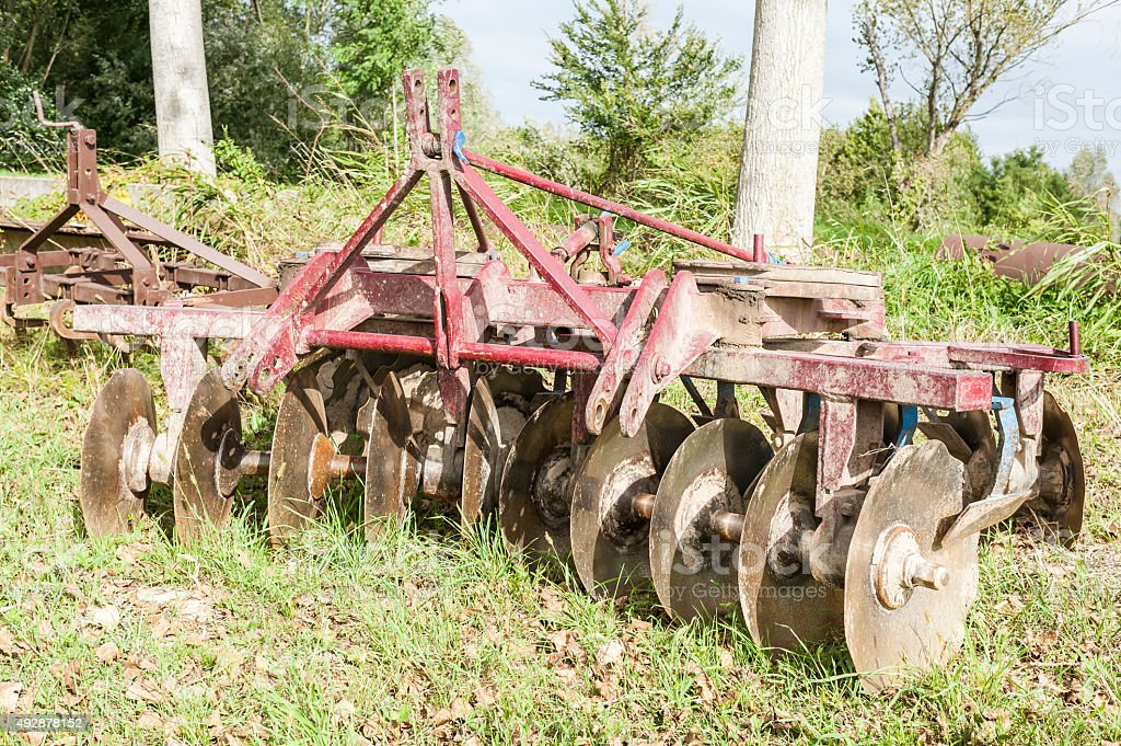Tool for agriculture: disc harrow stock photo