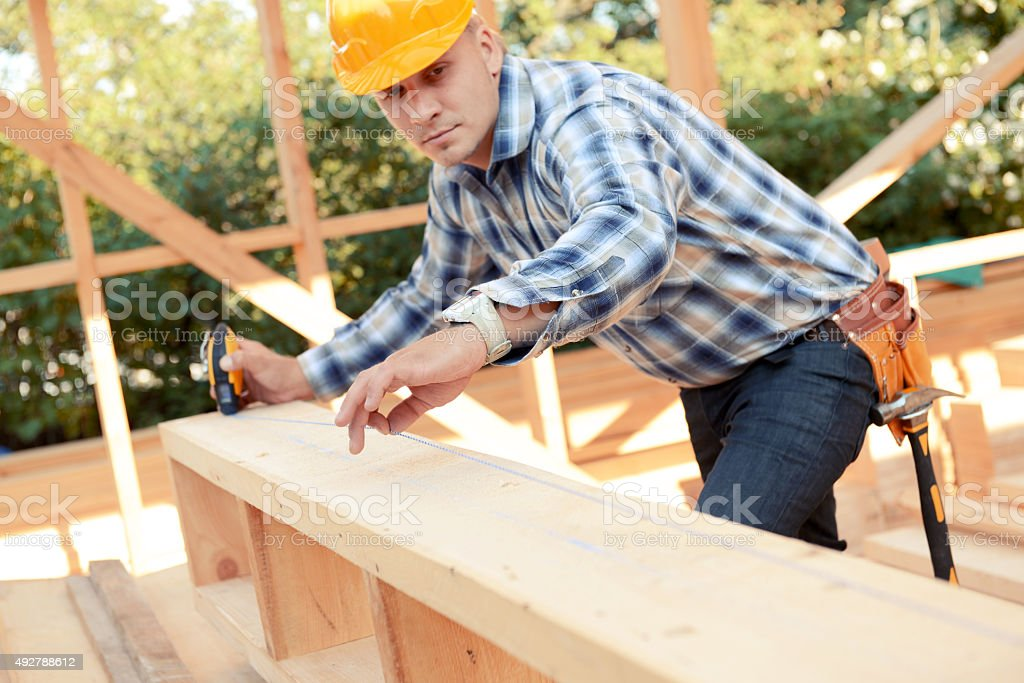 Tool for measuring the level of a construction stock photo