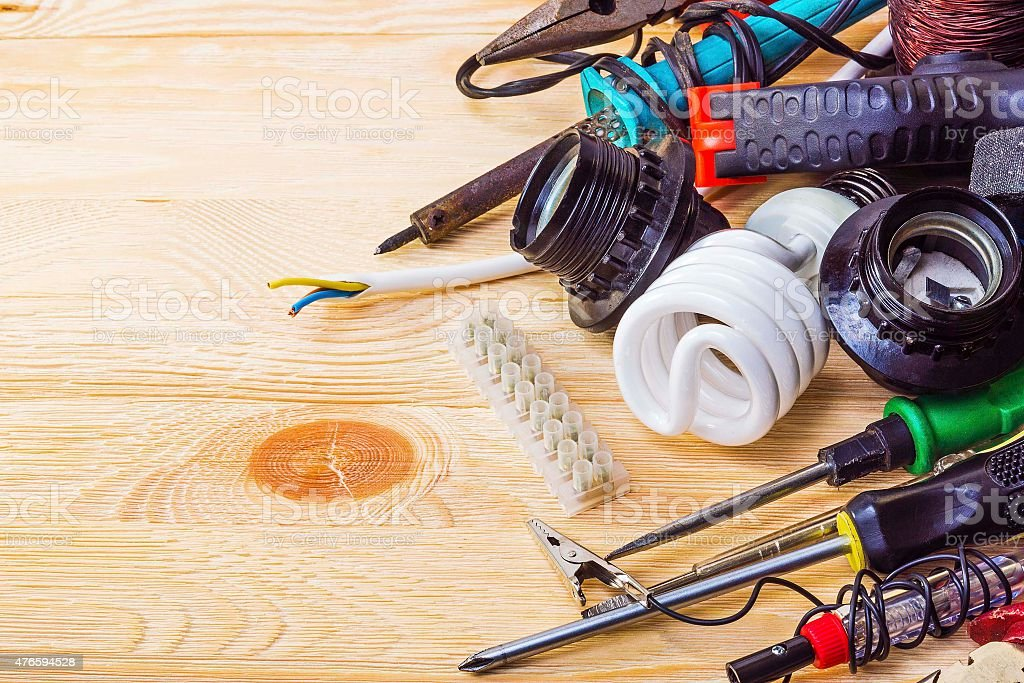 Tool for repair of electrical equipment stock photo