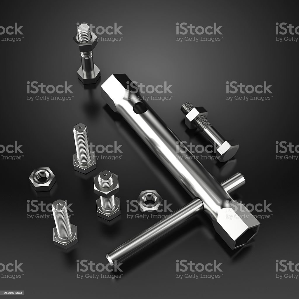 Tool Kit with bolts and screws on black reflective background stock photo
