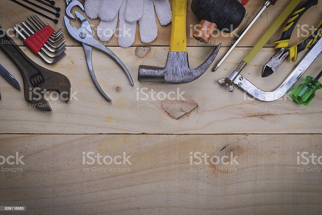 tool renovation on  wood plank table stock photo