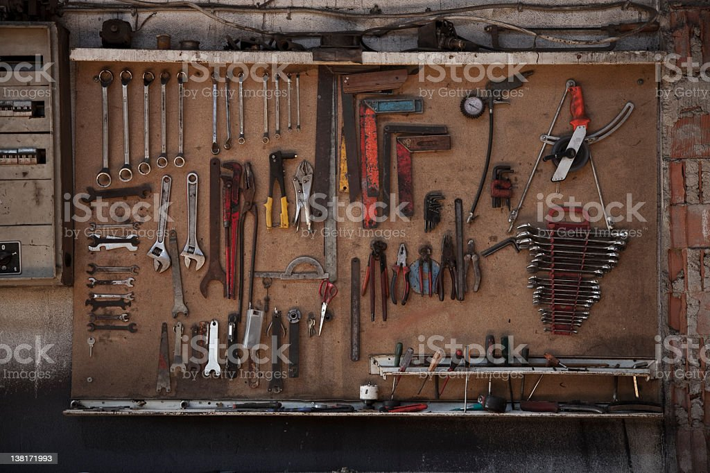 Tool Set Hanging On A Board stock photo