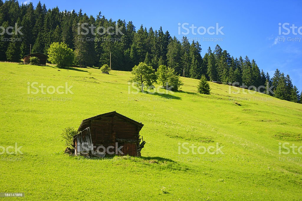 Tool Shed at Gimmelwald, Switzerland stock photo