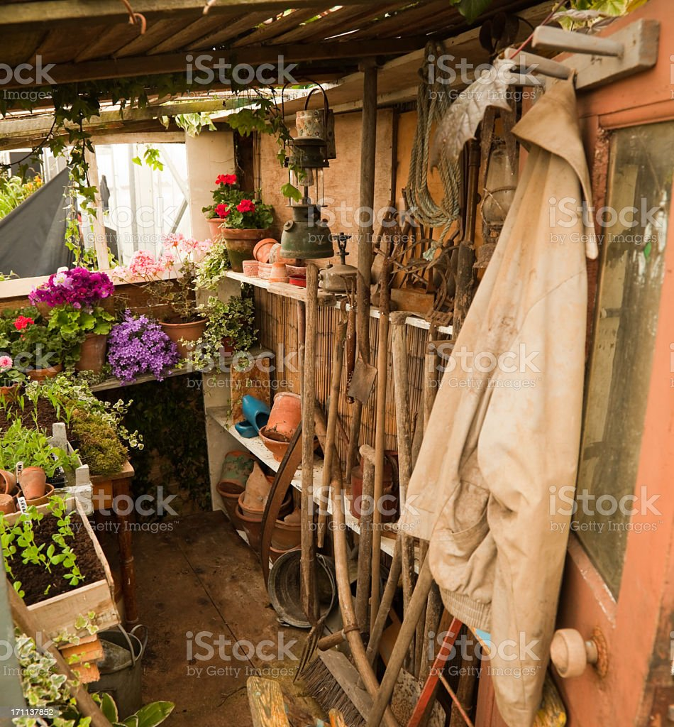 Tool shed filled with multiple supplies for gardening stock photo
