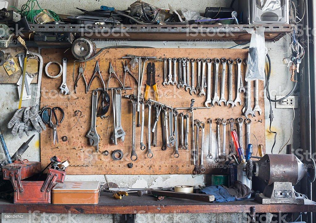 Tool shelf against a wall stock photo