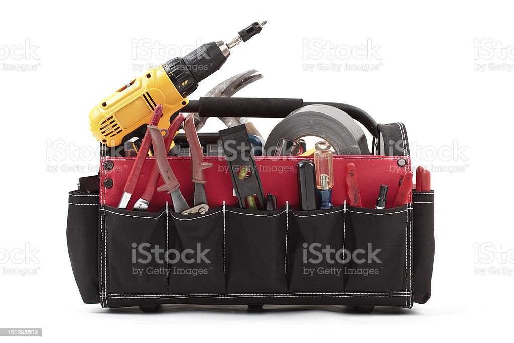 tool tote box with tools stock photo