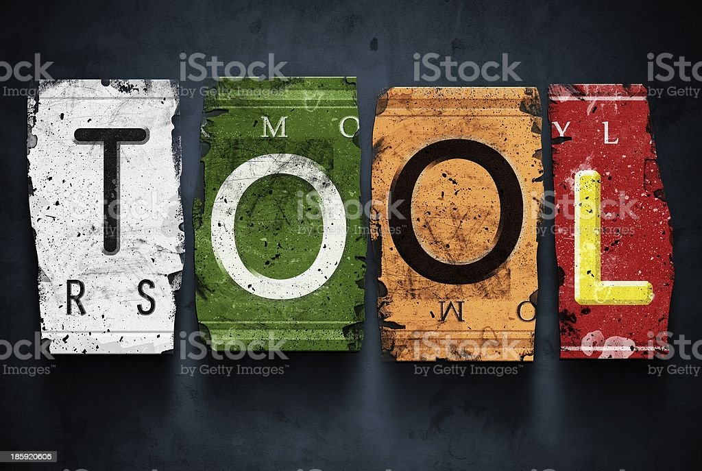Tool word on vintage car license plates, concept sign royalty-free stock photo