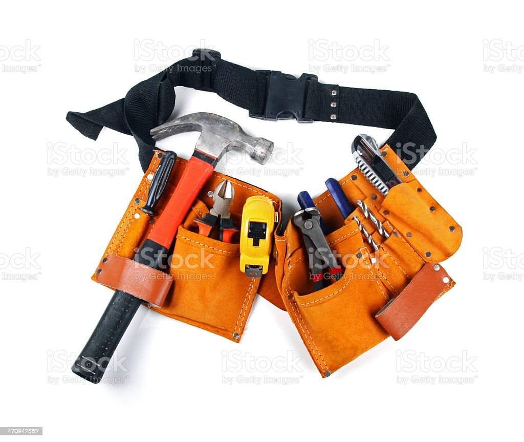 toolbelt with various tools isolated on white stock photo