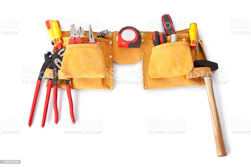 Toolbelt with various tools stock photo