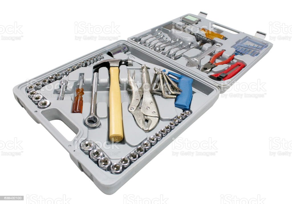 Toolbox close-up on white background stock photo