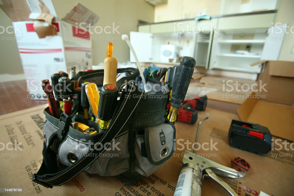 A toolbox full of items needed for a home repair royalty-free stock photo