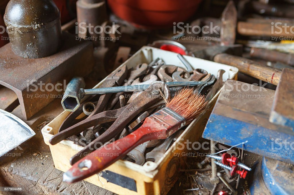 Toolbox in old garage stock photo