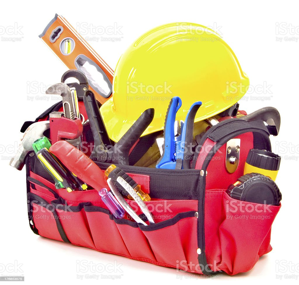 Toolbox Loaded with New Tools and Hardhat, Soft Shadow, Isolated royalty-free stock photo