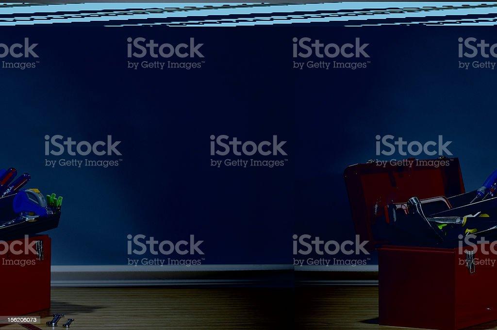 Toolbox on floor stock photo