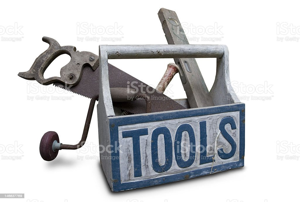 toolbox with saw, drill and water level royalty-free stock photo