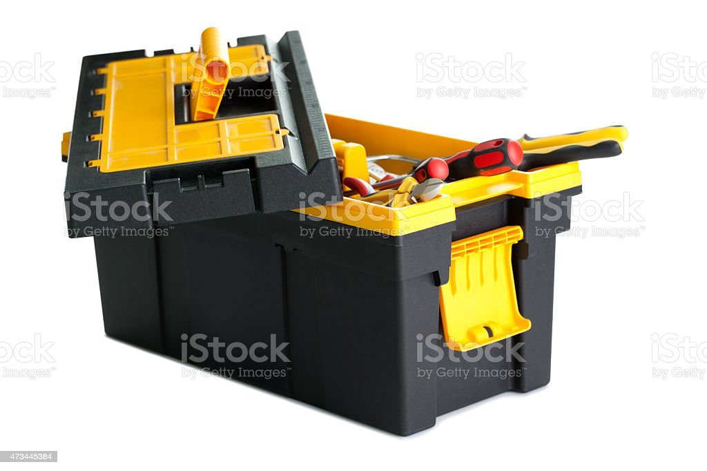 Toolbox with tools on white background stock photo