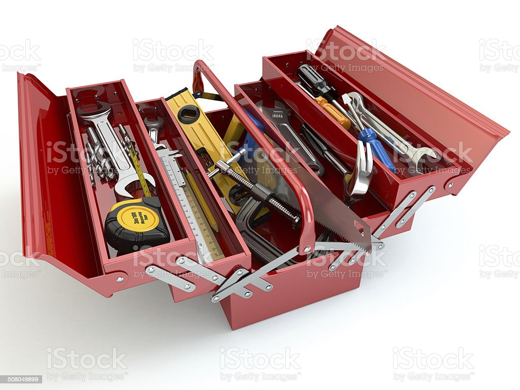 Toolbox with tools on white isolated background. stock photo