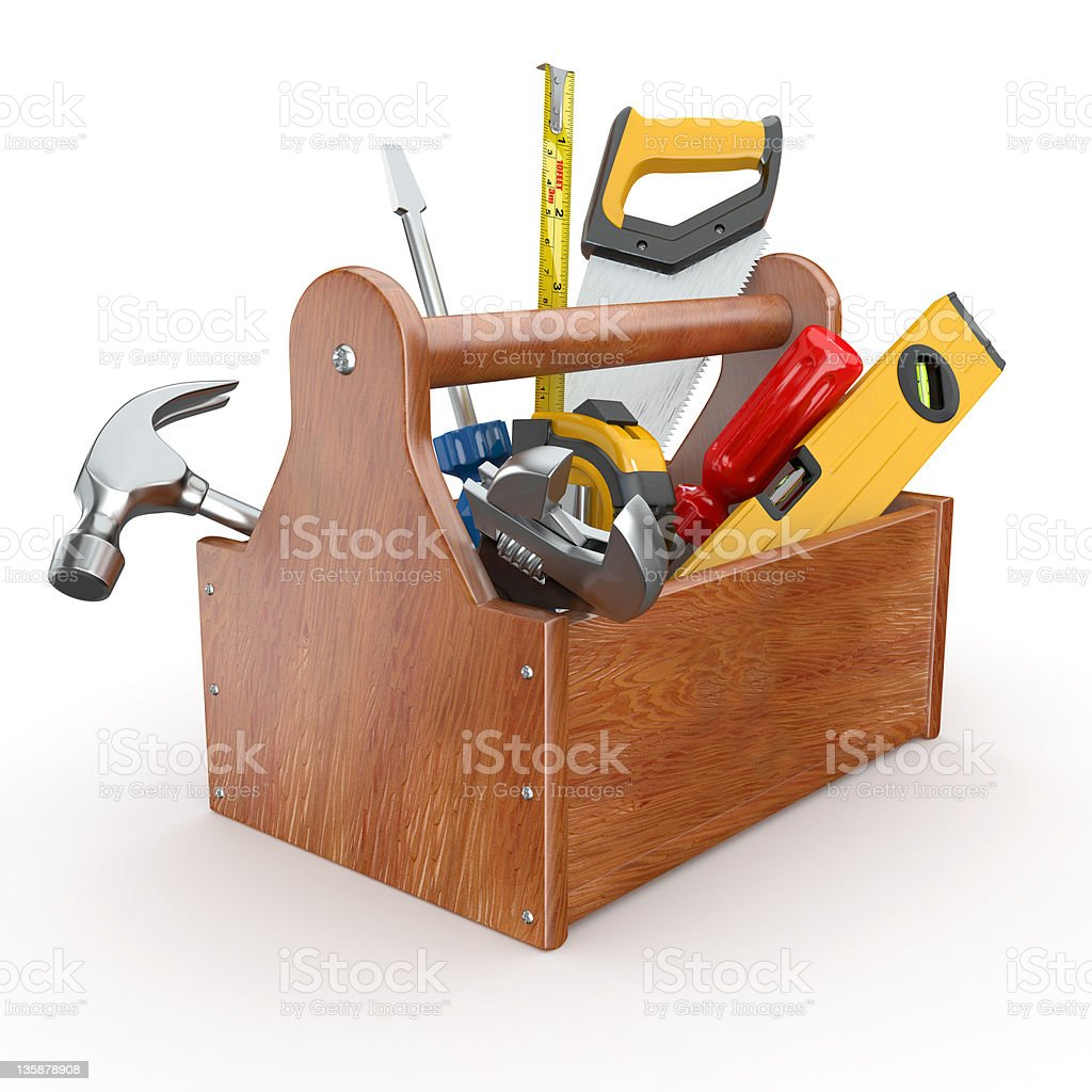 Toolbox with tools. Skrewdriver, hammer, handsaw and wrench stock photo