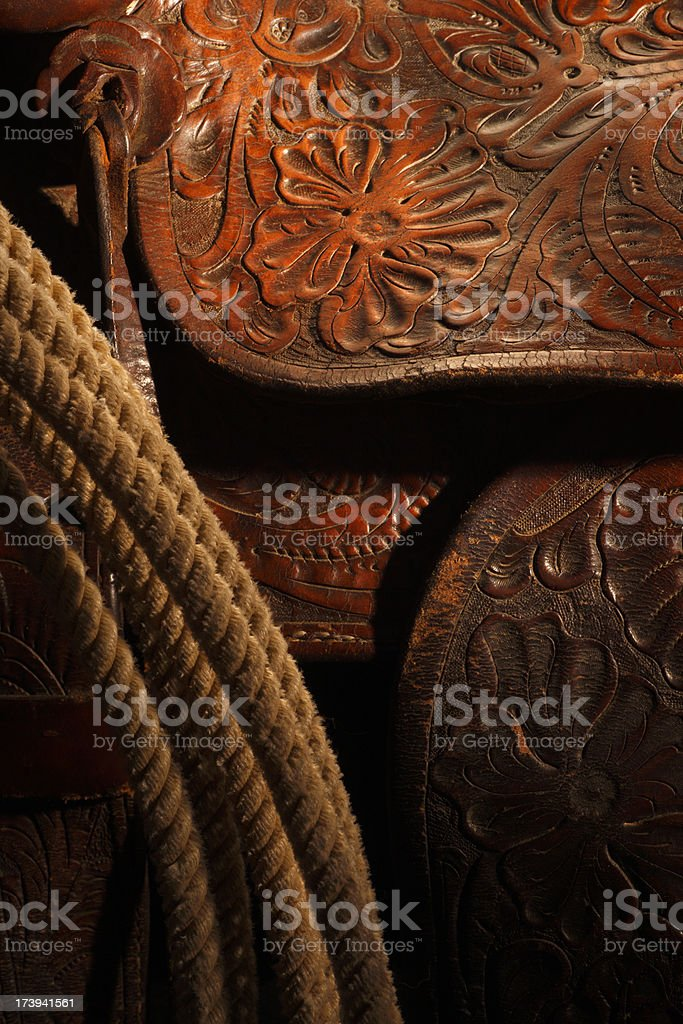 Tooled Leather Saddle stock photo
