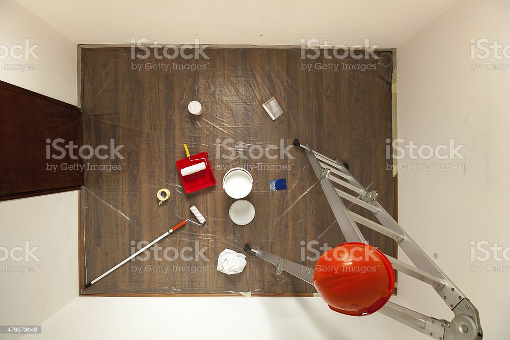 Tools and Accesories in Prepared Room for Painting stock photo