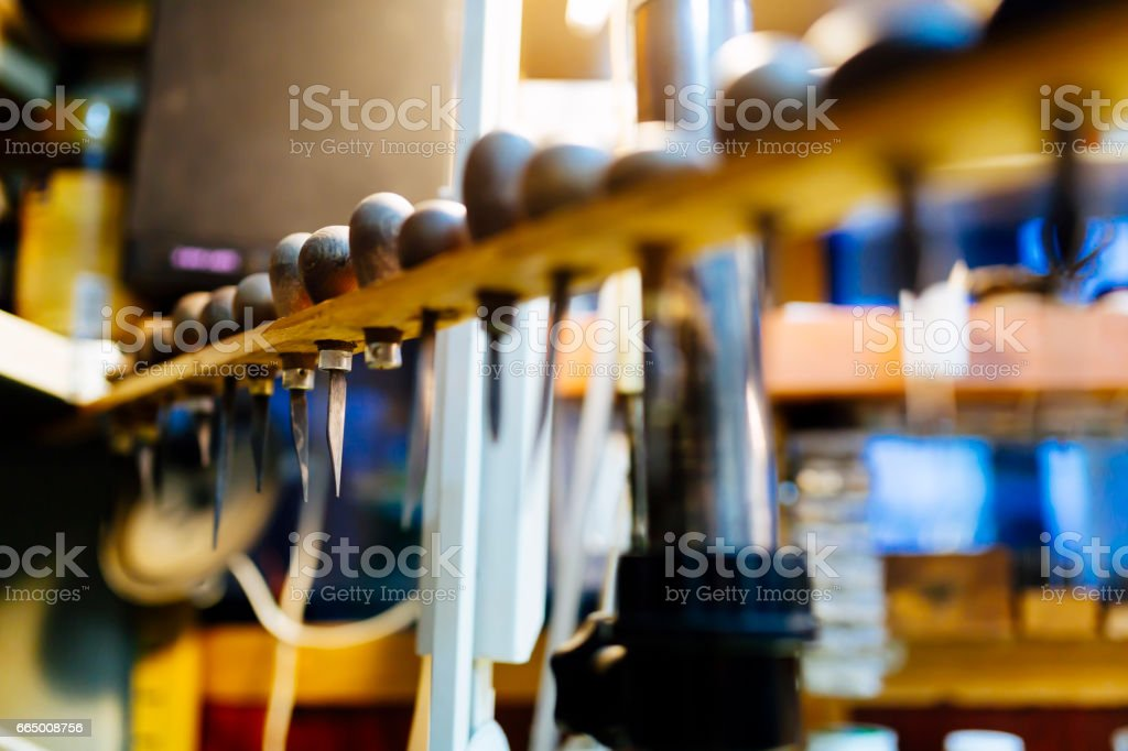 Tools and accessories of jewelers stock photo