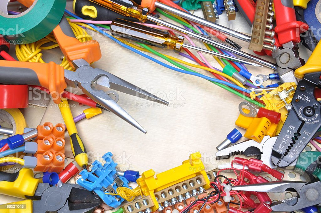 Tools and electrical component kit stock photo