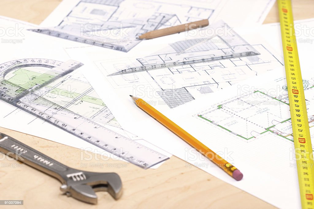 Tools and floor plans stock photo