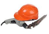 Tools and helmet