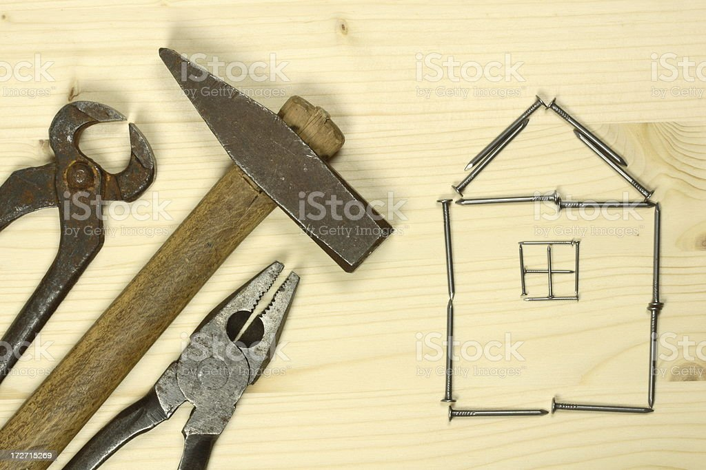 Tools and House of Nails royalty-free stock photo