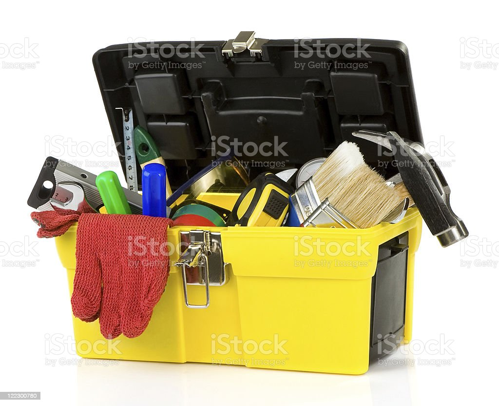 tools and instruments in plastic box royalty-free stock photo