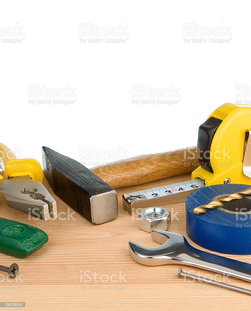 tools and instruments isolated on white royalty-free stock photo