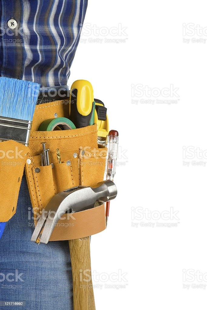 tools and man with belt on white royalty-free stock photo