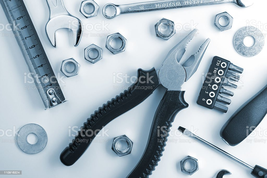 Tools and nuts royalty-free stock photo