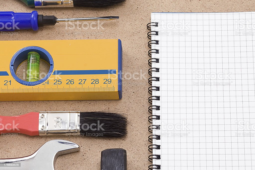 tools and pad royalty-free stock photo