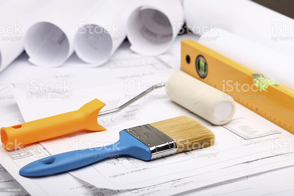 Tools and papers with sketches royalty-free stock photo