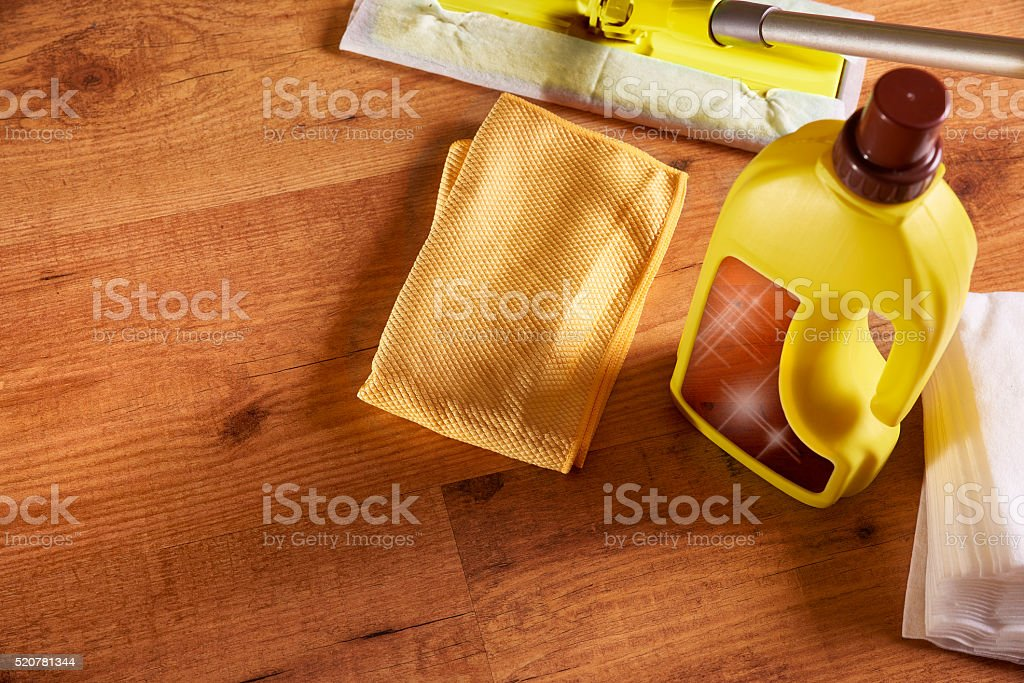 Tools and products for the maintenance of wooden floors stock photo
