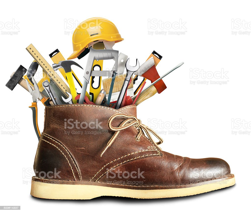 Tools and Shoes stock photo