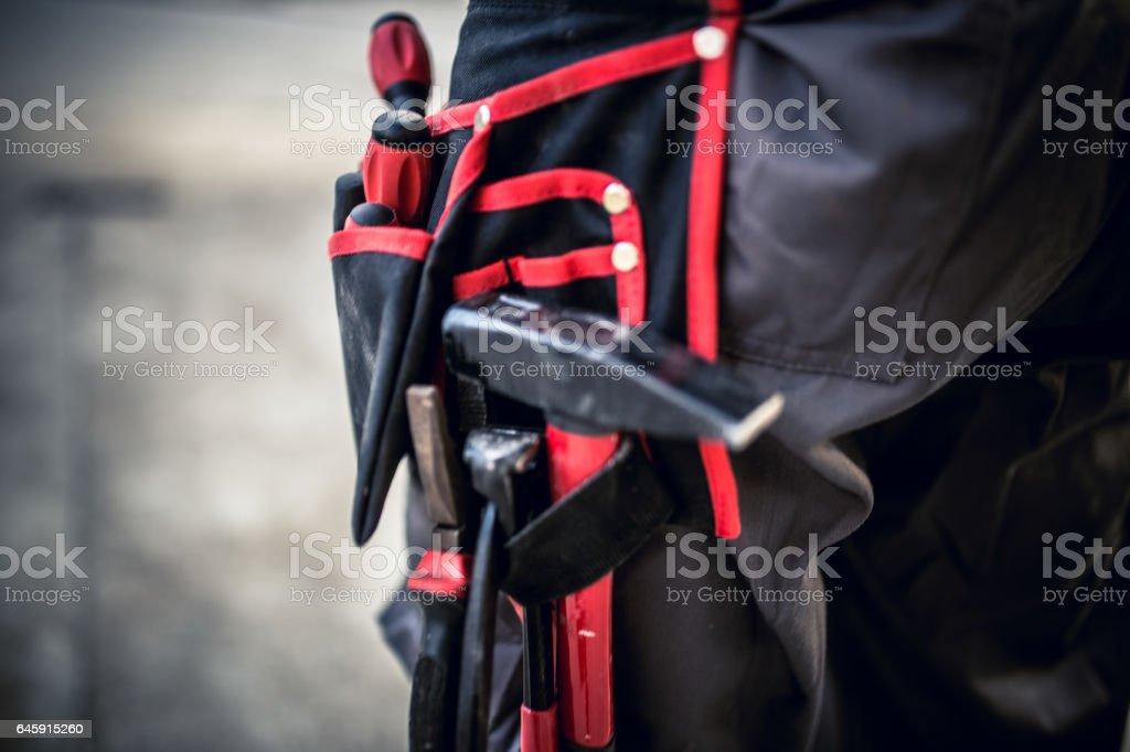 Tools belt close up stock photo