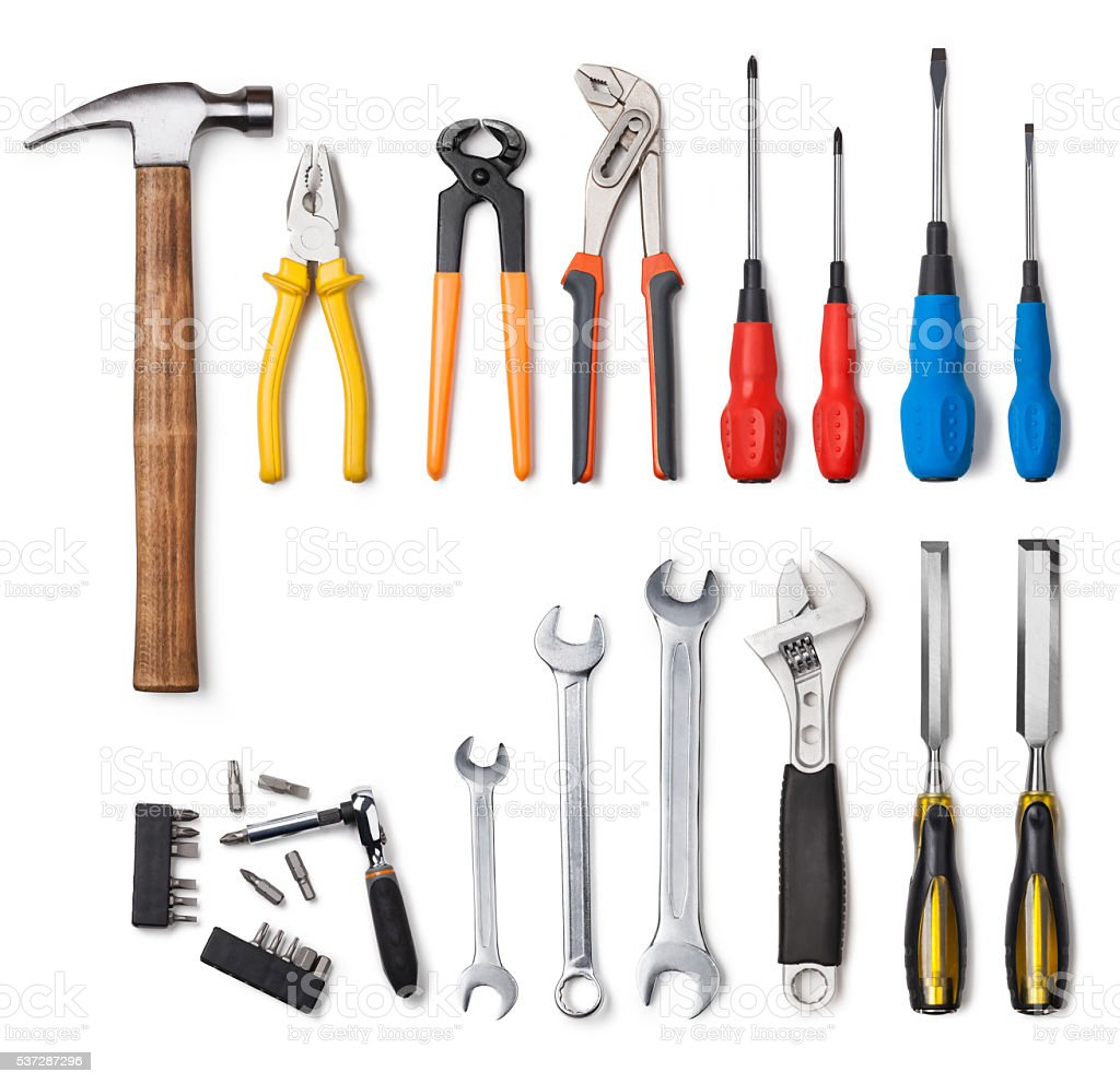 Tools collection stock photo