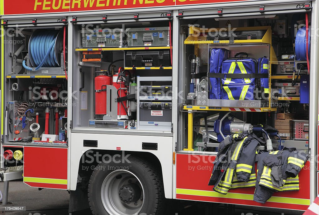 Tools compartment of modern firetruck stock photo
