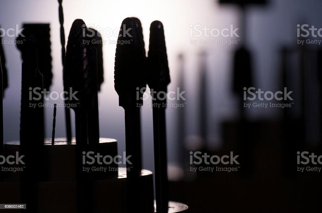 Tools Equipment Jewelry Burs Diamond close-up Making Drill Gold Silver stock photo