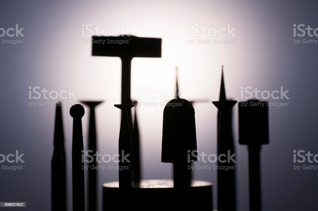 Tools Equipment Jewelry Handpiece Burs Diamond close-up Making Gold Silver stock photo