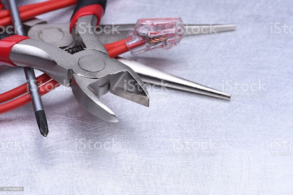 Tools for electrician and cables stock photo