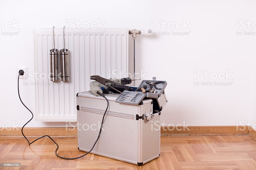 Tools for fixing radiator stock photo