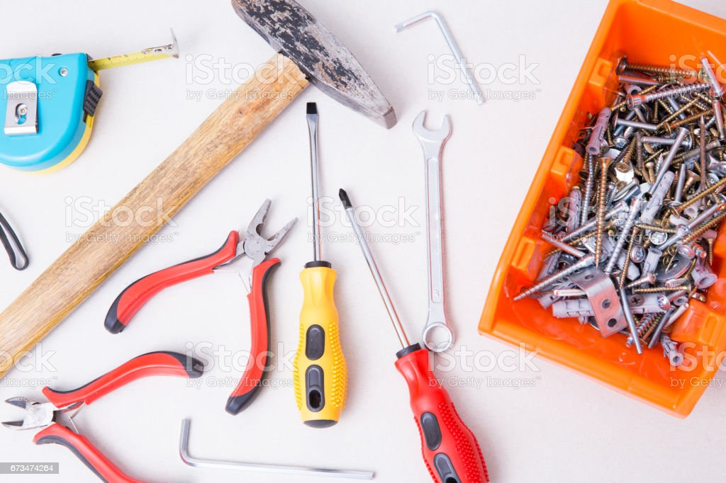 Tools for furmiture assemble. stock photo